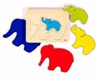 Puzzle elefant pe straturi