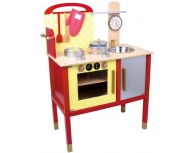 Bucătărie roşie din lemn