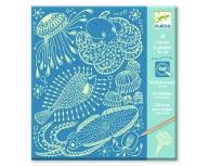 Desen prin răzuire animale marine