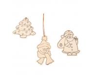 Set 3 ornamente lemn de colorat